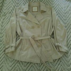 Sonoma Beige Striped Pea Coat